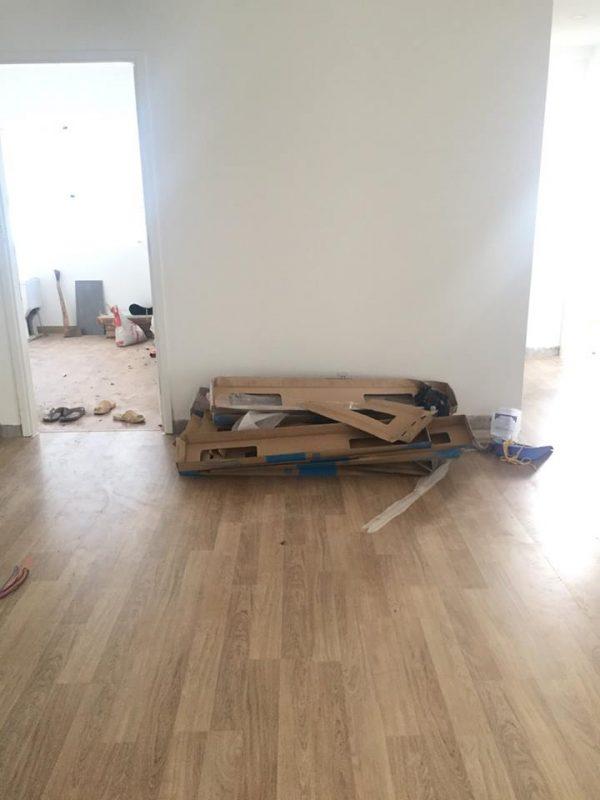 Công trình sàn gỗ đang thi công tại Tp. Hồ Chí Minh