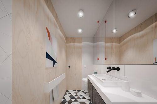 Khu vực nhà tắm nhỏ với thiết kể hẹp