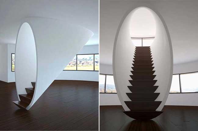 Cầu thang gói gọn trong hình oval, đặc biệt nhưng hấp dẫn