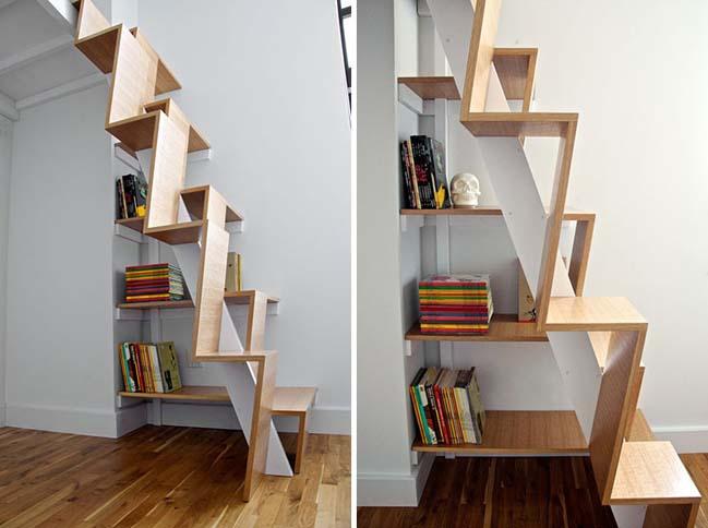 Cầu thang kết hợp làm kệ vật trang trí