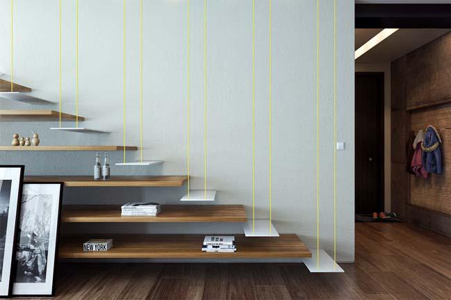 Cầu thang kết hợp kệ đựng vật dụng trang trí