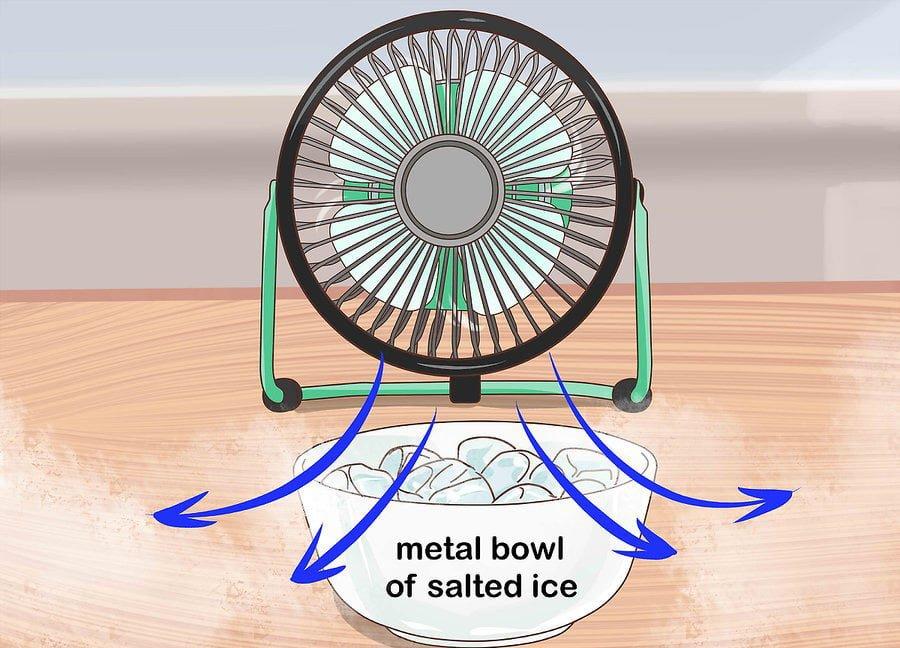 Phương pháp làm mát không khí bằng quạt gió và nước đá muối